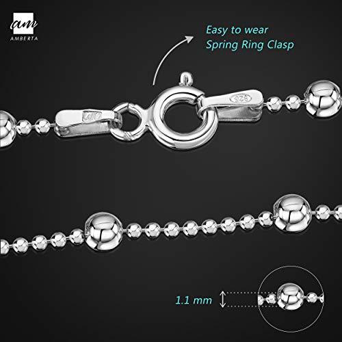 Amberta® Joyería - Pulsera - Fina Plata De Ley 925 - Cadena de Bola - 1.1/3.2 (mm) - 18 19 20 cm (19cm)