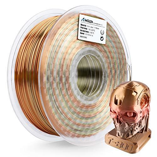 AMOLEN PLA Filamento Impresora 3D 1.75mm Rainbow Multicolor 1KG,+/- 0.03mm Materiales de Impresión 3D para Impresora 3D y Lápiz 3D