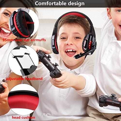 Auriculares Gaming PS4, Auriculares Cascos Gaming Micrófono con Reducción de Sonido y Control de Volumen Gaming Headset con Conector Jack 3.5mm y Luces led,Válidos para PC/Xbox One/Móvil (Red-2)