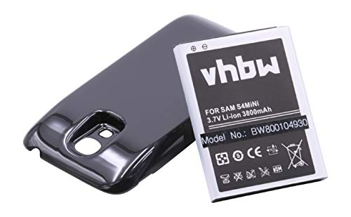 Batería sustitución duración extendida 3800mAh para móviles Samsung Galaxy S4 Mini, S4 Mini LTE, GT-i9190, GT-i9195 sustituye B500, B500BE, B500BU.