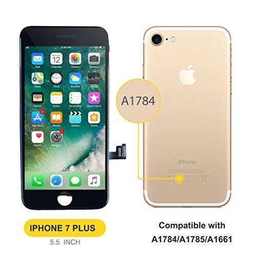Bokman LCD Pantalla para iPhone 7 Plus, Táctil LCD Reemplazo con Herramientas de Reparación(Negro)