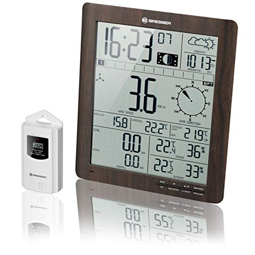 Bresser 7002420 Estación meteorológica con Sensor Exterior, Apariencia de Madera, ClimaTemp XXL
