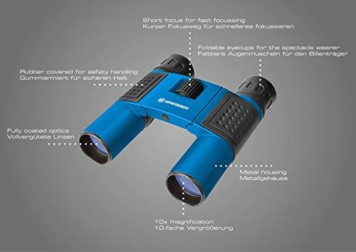 Bresser Optics Topas 10x25 Binocular BK-7 Negro, Azul - Binoculares (10x, 2,5 cm, BK-7, Negro, Azul, 96 m, Metal, Caucho)