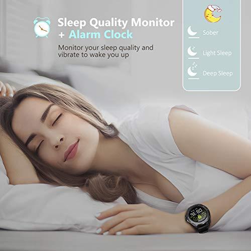 BYTTRON Relojes Inteligentes, Rastreador de Ejercicios con Pantalla táctil Full HD de 1.3 '' con Rastreador de sueño de Ritmo cardíaco, Reloj de Ejercicios Impermeable 5ATM, Smart Reminder Smartwatch