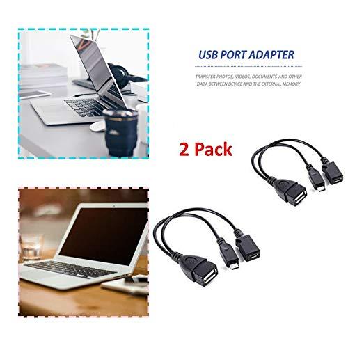 Cable de OTG de Adaptador de Terminal de Puerto USB de 2 Paquetes para Fire TV 3 o 2nd Gen Fire Stick - Negro