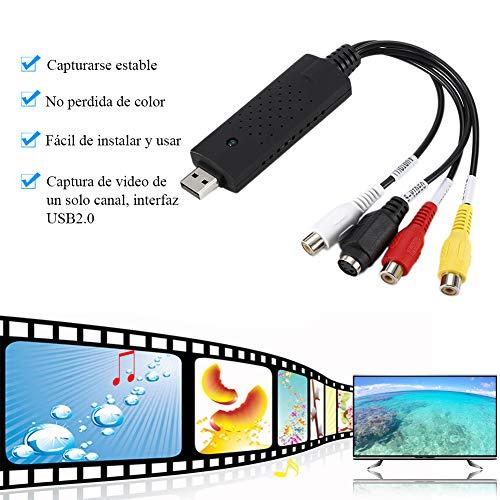 Capturadora de Vídeo y Audio VHS a PC, USB 2.0 Adaptador de Tarjeta Captura Grabador Películas AV VCR DVR Digitalizadora Convertidor Cinta de Video a DVD Apto Win10/7/XP/Vista