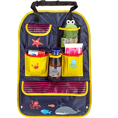 CARTO organizador infantil para asiento de coche, colorido con compartimientos y bolsillos, repelente, forro de asiento para niños y bebés/funda para asientos/cubreasientos