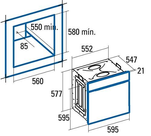 Cata CME 6206 X (Medio, Horno eléctrico, 60 L, 1350 W, 0-250 °C), 2250 W, 60 litros, Negro, Acero Inoxidable