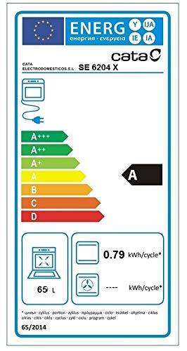CATA Estático | 4 Funciones | Horno Modelo SE 6204 X | Capacidad Interior de 65 litros | Rango de temperatura 50º-250º | Clase de eficiencia energética: A | Ancho de 60 cm, Negro, Acero inoxidable
