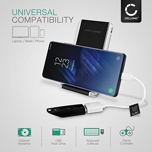 CELLONIC® Cable OTG Compatible con Samsung Galaxy Tab S3 S4 S5e S6 / TabPro S/Galaxy Book A 10.5 10.6 12.6 / Active 2 / Pro Adaptador OTG Tipo USB C Type C Cable Host USB OTG PVC Conector OTG Blanco
