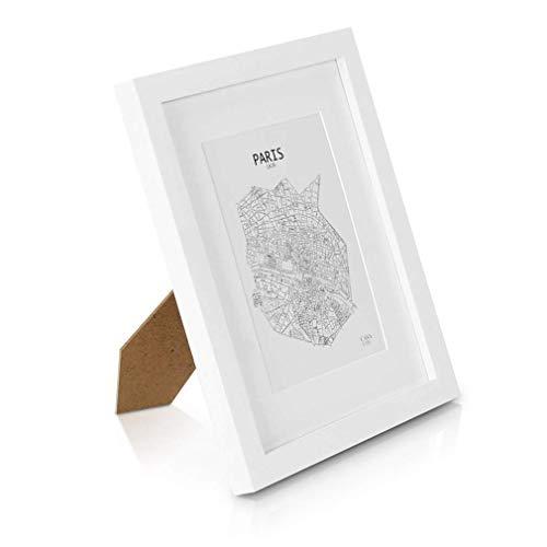 Classic by Casa Chic Marco de Fotos 20 x 25 cm con Paspartú para Foto 13 x 18 cm - Madera de Pino - 1 Marco - Grosor del Marco 2 cm - Frente de Cristal Templado - Color Blanco