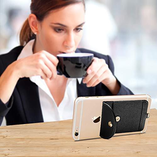 COCASES Soporte para tarjetas de teléfono, cartera de teléfono ultrafina, autoadhesiva, bolsillo con correa de mano desmontable para tarjetas de crédito (negro)