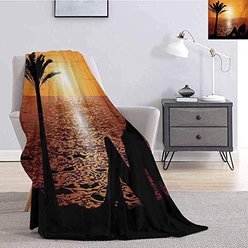 Escomdp Girls Faux Fur Blanket Warm Cozy Silhouette of Lady and Palm Tree On Tropical Beach At Sunset Horizon Scenery Print All Season Premium Fluffy Blanket Black Orange 48x60IN