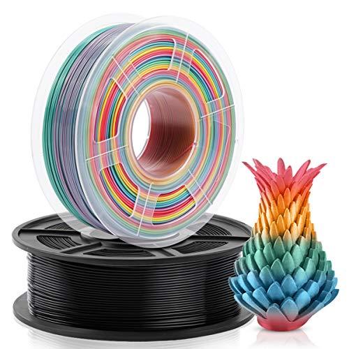 Filamento Impresora 3D PLA 1.75 mm, PLA Multicolor Arco Iris & Negro 2KG, Devanado Ordenado Actualizado, PLA Rainbow Black
