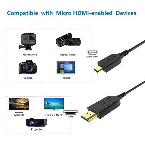FOINNEX Cable HDMI Micro HDMI Flexible & Delgado 0.6 Metros, Cable Micro HDMI a HDMI Normal Ultra Thin para Gimbal, GoPro Hero, Canon Camera, Soportes Ultra HD 4K@60Hz, 2K, 3D, Ethernet, ARC, HDR