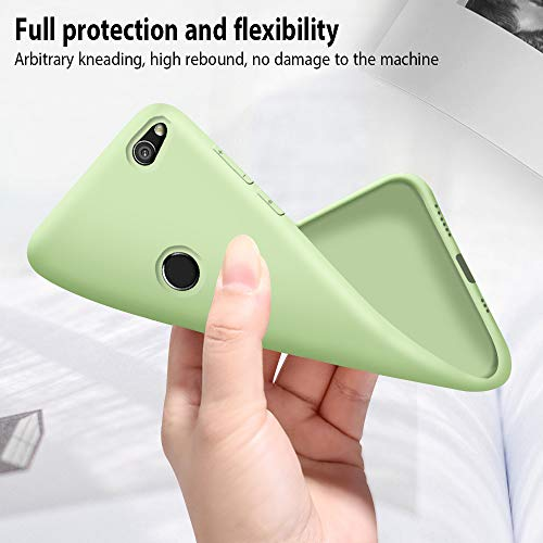 Funda Huawei P8 Lite 2017 + Protector de Pantalla de Vidrio Templado, Carcasa Ultra Fino Suave Flexible Silicona Colores del Caramelo Protectora Caso Anti-rasguños Back Case - Menta Verde