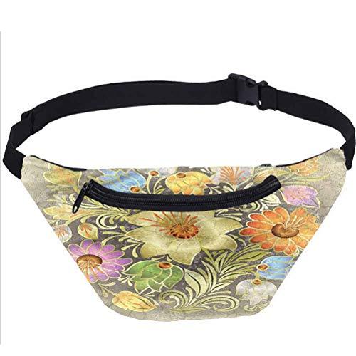 Grunge Fanny Pack,Vintage Bouquet Bolsa de cintura nupcial para mujeres, hombres y niños