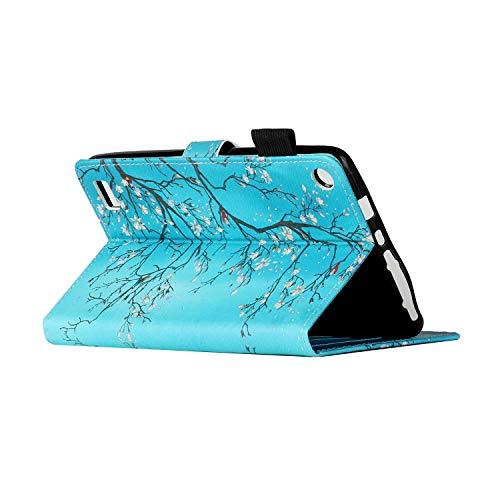 i-Case Funda para Tableta de PU para Kindle Fire 7, Protectora Carcasa con Tapa Flip Case Antigolpes Billetera Cuero para (Novena, séptima, Quinta generación, versión 2019 2017 2015),Flor de Ciruelo