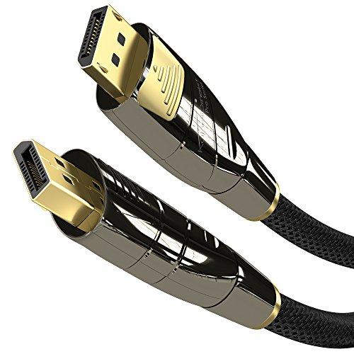 KabelDirekt - Cable DisplayPort (Versión 1.2, resolución de hasta 4K 60Hz, HDCP, con tapones dorados, conector con bloqueo y revestimiento de nailon, para aplicaciones multimedia y de juegos)