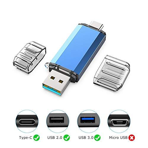KOOTION Memoria USB Tipo C 64GB 3.0 Pendrive Type C 64 Giga OTG Pen USB C Dual Flash Drive USB C Pen Drive Doble Entrada, Azul