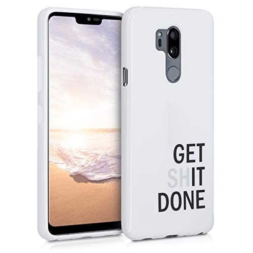 kwmobile Funda Compatible con LG G7 ThinQ/Fit/One - Carcasa de TPU Get it Done en Negro/Gris Claro/Blanco