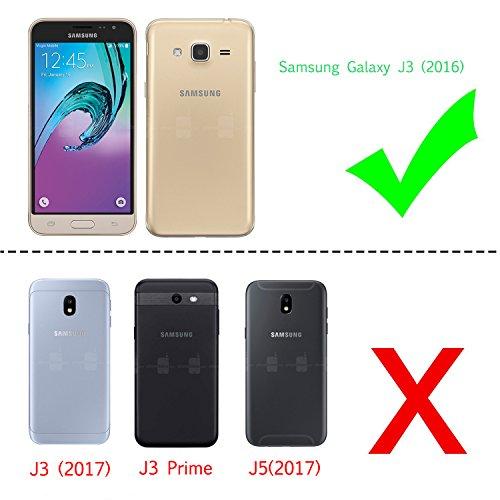 LeYi Compatible with Funda Samsung Galaxy J3 2016 con HD Protectores de Pantalla , Silicona Purpurina Carcasa Transparente Cristal Bumper Telefono Gel TPU Fundas Case Cover para Movil J3 2016 Azure