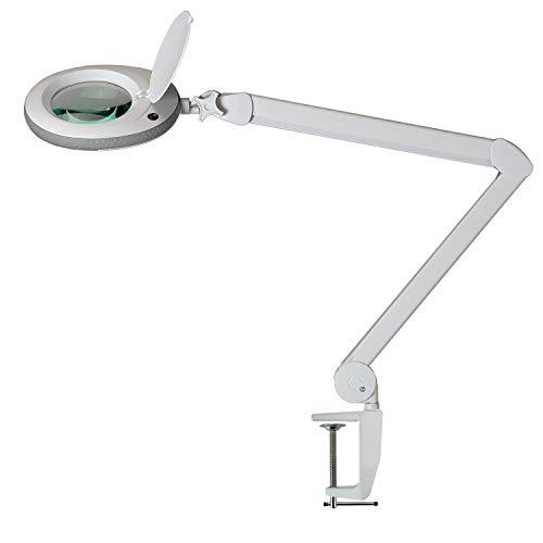 Lumeno Lámpara Lupa, lámpara de Trabajo, lámpara cosmética con 96 Leds, Gris, 721XGR para Salones de cosmética Ayuda de Lectura, Lupa de Lente, en 3, 5 u 8 dioptrías Gris 5 dioptrías