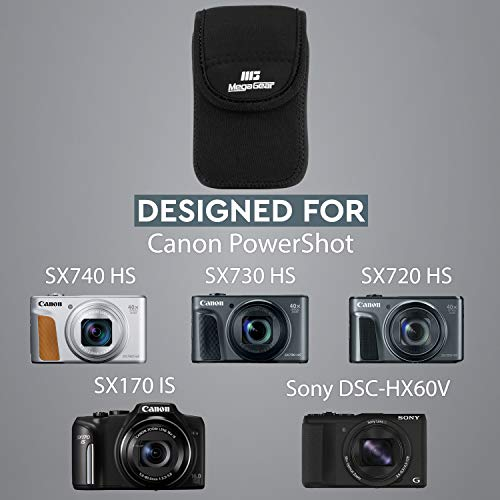 MegaGear MG037 Estuche de cámara ultra ligero, de neopreno, con mosquetón para Canon SX170, Sony DSC-HX60V, Canon PowerShot SX740 HS, SX730 HS, SX720 HS - Negro