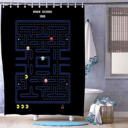 Mesllings Pacman - Cortinas de Ducha Resistentes al Moho, poliéster Tela, 72x72 Inch