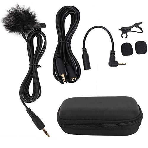 Micrófono con clip Micrófono portátil - Kit de micrófono con clip de cuello lavalier portátil negro de 3,5 mm para grabación de teléfono móvil