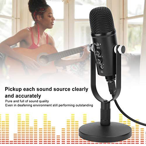 Micrófono de PC, Micrófono de Condensador KTV Audio Studio Grabación de Micrófono Sonido de Alta Fidelidad Nítido para Grabar Música, Transmitir Medios en Vivo, etc.