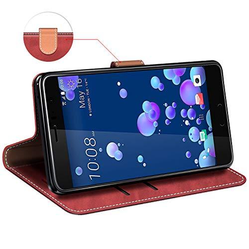 MOBESV Funda para HTC U11, Funda Libro HTC U11, Funda Móvil HTC U11 Magnético Carcasa para HTC U11 Funda con Tapa, Rojo