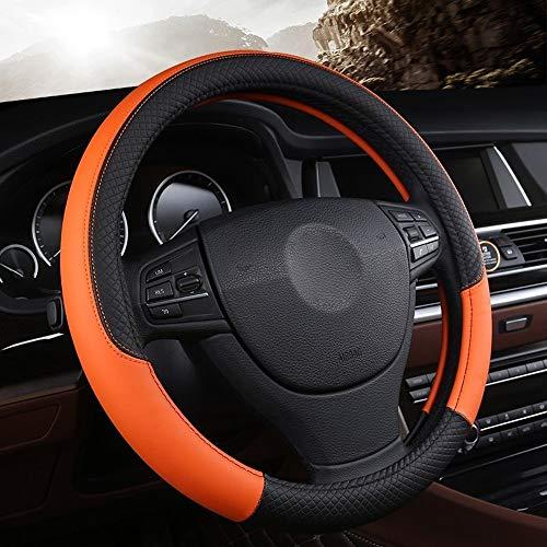 no-branded Volante del Coche de la Cubierta for el K-i-un K3 K2 2013 R-i-o 2015 2016 C-e-R-a-t-O 2013-2017 Cuero auténtico LKYHYQ Accesorios del Coche (Color : Naranja, Size : Gratis)