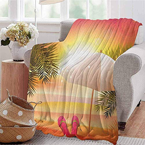 Orange Luxury Special Grade Blanket Sunset At The Beach with Flip Flops Umbrella and Palm Trees Illustration Multi-Purpose Use For Sofas Etc. Orange and Yellow 60x80IN