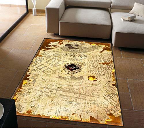 Personalidad Alfombras Alfombras Harry Potter Americano Retro Mágico Mapa Del Mundo Sala De Estar Mesa De Café Dormitorio Alfombras De Noche Decoración 100Cm * 160Cm