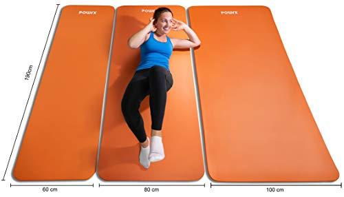 POWRX Colchoneta Fitness Antideslizante 190 x 80 x 1,5 cm - Esterilla Extra Suave Ideal para Yoga, Pilates y ginnasia - Ecológica con Cinta para Transporte y Funda + Poster (Orange)
