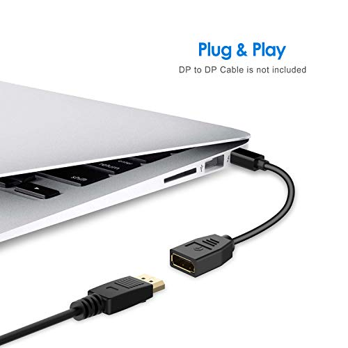 Rankie Adaptador Mini DisplayPort (Mini DP) to DisplayPort (DP), 4K, Negro