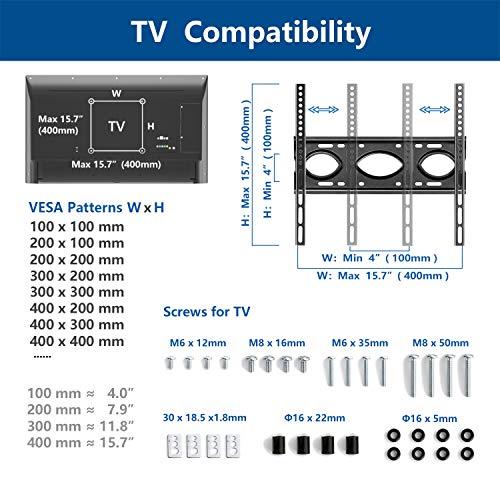 RFIVER Soporte Pie TV para Television de 26 32 42 43 49 50 55 Pulgadas Universal Soporte Suelo TV con Giratorio y Altura Ajustable MAX VESA 400x400mm
