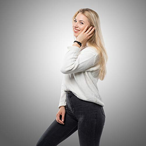SERASAR 20cm Negro Pulsera de Cuero para Mujer con Joyero - Pulseras Brazalete Brazaletes Joyeria Bisuteria Regalos Parejas Mama Hermana Niña Hija Leather Bracelet Women Woman Gift Box Present