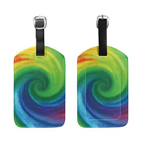 Shenguang 2PCS Cuero Rainbow Vortex Pintura al óleo Etiquetas de Equipaje Etiquetas de Equipaje de Viaje Etiqueta de Bolsa