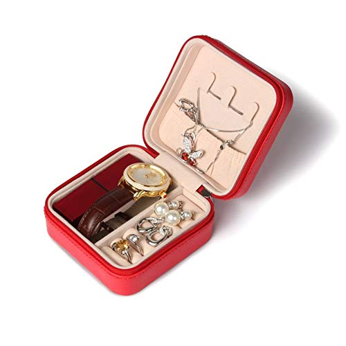 SSJIA Organizador de joyería Reloj pequeño Caja de Almacenamiento de lápiz Labial Regalo de Mujer Organizador de joyería de Viaje de Cuero PU, Naranja