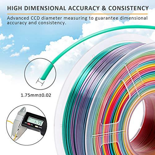 SUNLU PLA Multicolor Filamento 1.75mm, Impresora 3D PLA Rainbow Filamento 1kg Spool, Precisión Dimensional +/- 0.02 mm, PLA Rainbow Multicolor