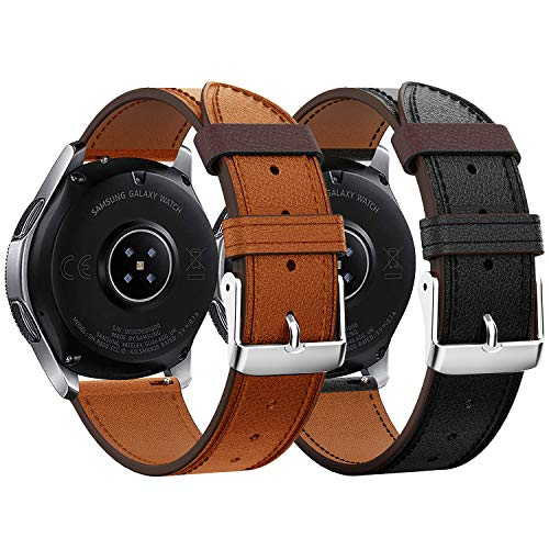 Syxinn Compatible con Correa de Reloj Gear S3 Frontier/Classic/Galaxy Watch 46mm Cuero Banda Pulseras de Repuesto, 22mm Cuero Real Pulsera para Moto 360 2nd Gen 46mm/Huawei Watch GT/GT 2 46mm
