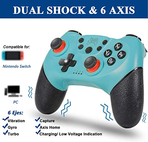 Tanouve Mando para Nintendo-Switch, Controlador Inalámbrico para Nintendo-Switch Pro/PC Gamepad Bluetooth Inalámbrico con Doble Choque Vibración Controlador (Azul)
