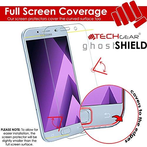 TECHGEAR [3 Piezas Protector de Pantalla Compatible con Samsung Galaxy A5 2017 [ghostSHIELD] Reforzada Flexible TPU Protector de Pantalla con Cobertura de Pantalla Completa inclusiva Pantalla Curva