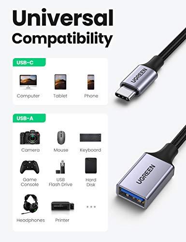 UGREEN Adaptador USB C a USB 3.0, Cable OTG USB Tipo C Macho a USB Hembra Adapter Compatible con Thunderbolt 3 para MacBook Pro, iPad Pro, Samsung Galaxy S20 Note 10 S9 Tab A, XiaoMi Mi 9, 2 Unidades