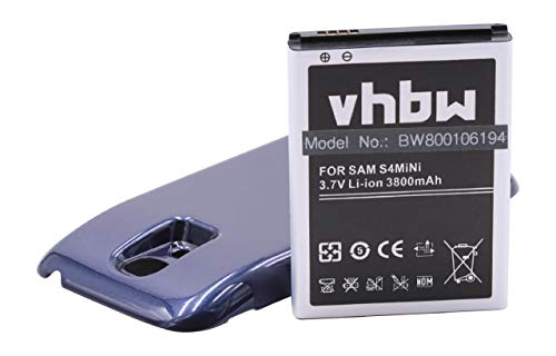 vhbw batería extendida 3800mAh (3.8V) Azul para teléfono móvil Smartphone Samsung Galaxy S4 Mini Galaxy S4 Mini LTE GT-i9190 GT-i9195 por B500 etc.
