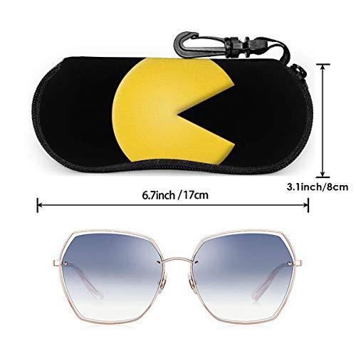 wusond Estuche para gafas de dibujos animados Pac Man, estuche para gafas de sol con cremallera de viaje portátil, estuche para gafas, bolsa, sistema de protección