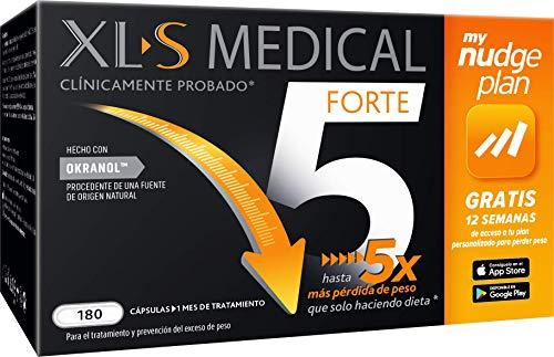 XLS Medical Forte 5 Nudge | Captagrasas | Pierde hasta 5 veces más peso que solo haciendo dieta | Perder Peso | Origen Natural 100% Vegano | 180 Cápsulas, 1 mes