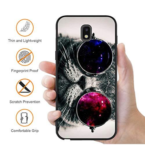 ZhuoFan Funda Samsung Galaxy J3 2017 Cárcasa Silicona Ultrafina Negra con Dibujos Diseño Suave TPU Antigolpes de Protector Piel Case Cover Bumper Fundas para Movil Samsung J32017, Gato 3
